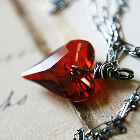 Valentine Red Crystal Heart Pendant