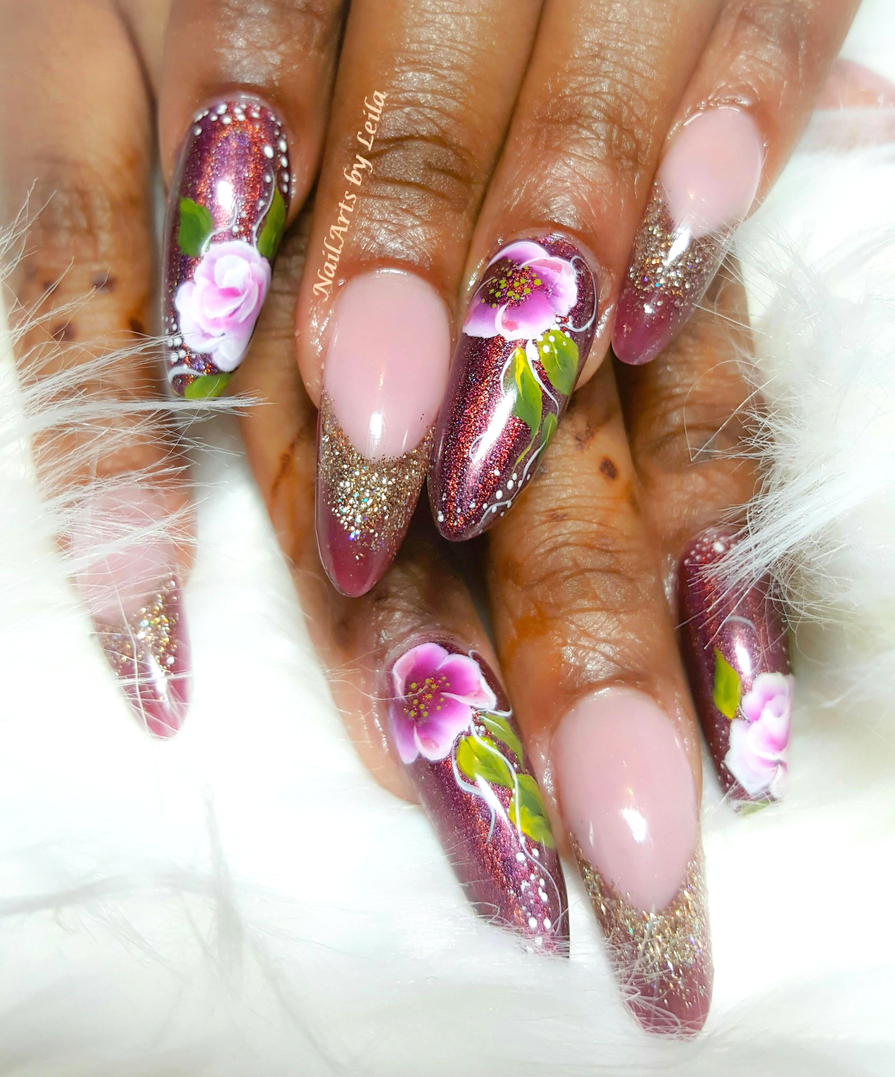 Colored acrylic fullset w/ art $60 European nail shapes and designs ...