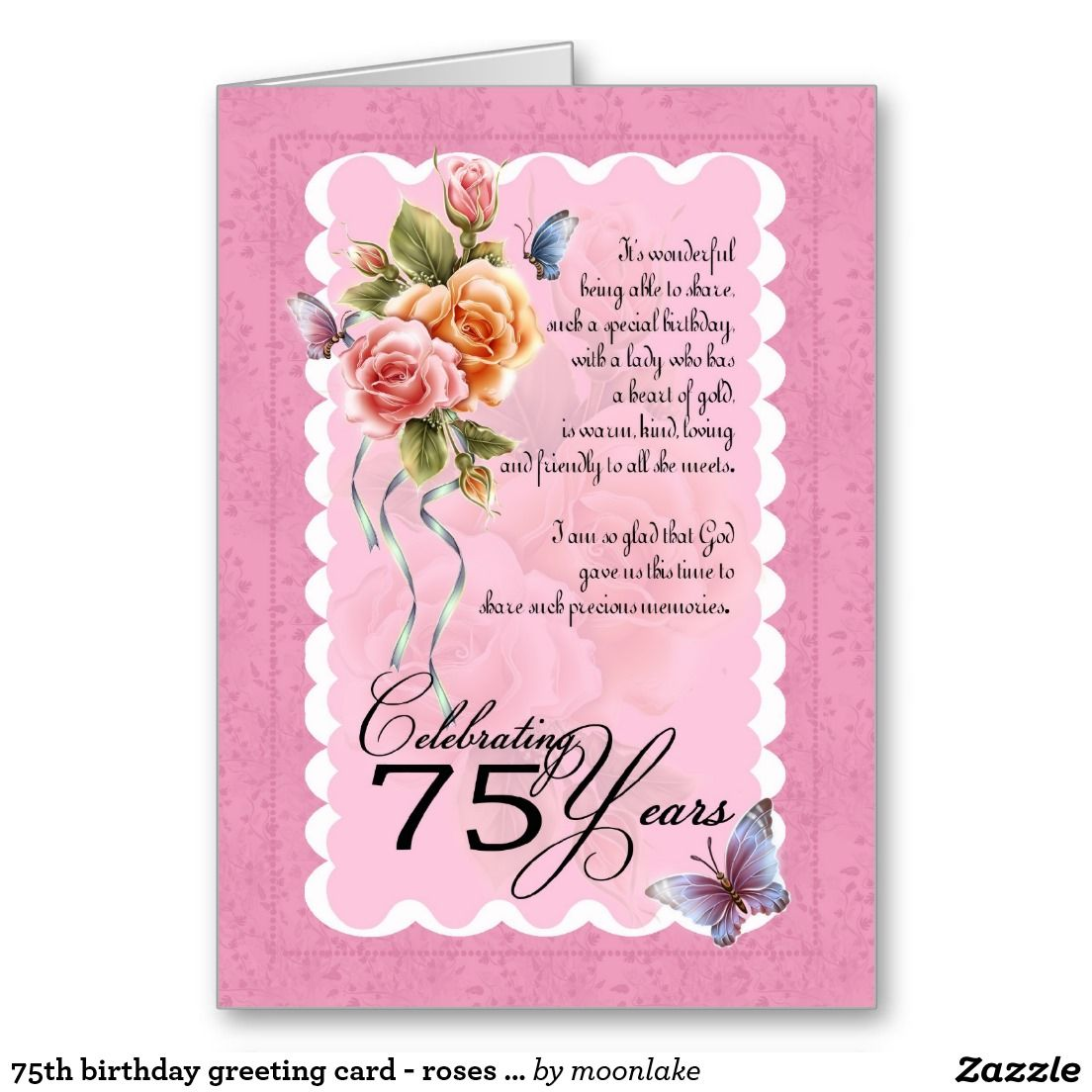 75th Birthday Greeting Card Roses And Butterfly Happy Birthday