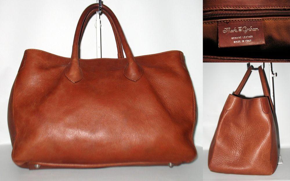 9289800bfeb8 MARK & GRAHAM Elisabetta Slouch Handbag Tote Sauvage Leather Brown ...