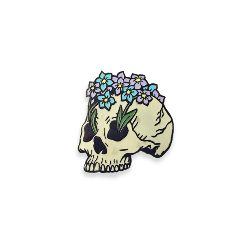"""From+my+rotting+body,+flowers+shall+grow+and+I+am+in+them+and+that+is+eternity.""+-+Edvard+Munch Designed+by+Cat+Coven+from+Brooklyn+New+York.+  Hard+enamel+pin.+ Two+pins+on+the+back Rubber+clasp 1.25+inches+tall.+"
