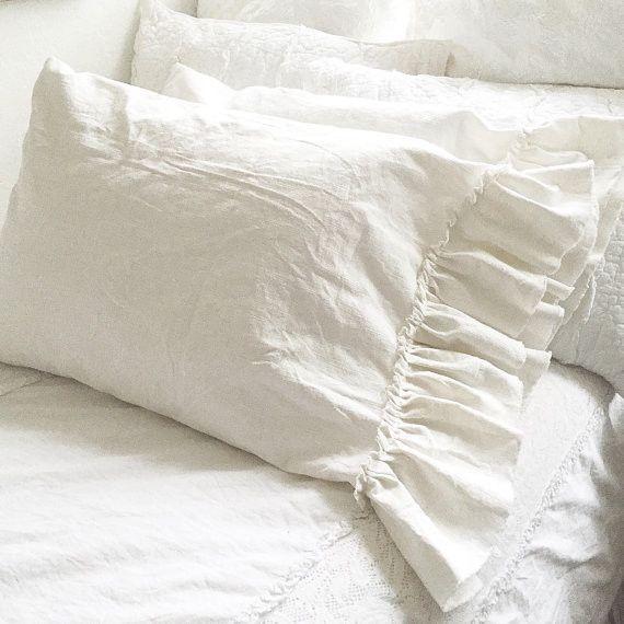 Ruffle linen pillow sham luxury bedding shabby chic for Linge shabby chic