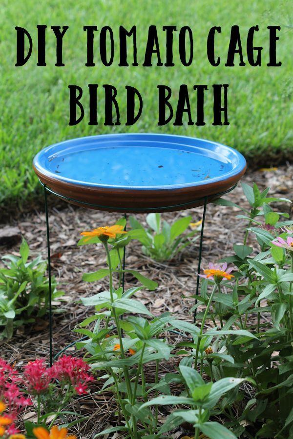 Diy Tomato Cage Bird Bath Bird Bath Garden Diy Bird Bath Tomato Cages