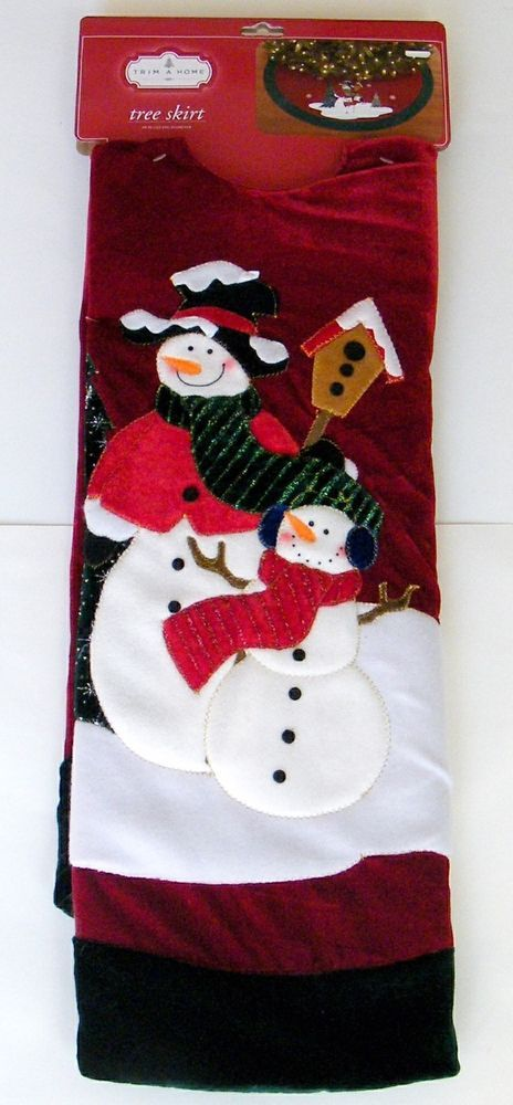 Christmas Tree Skirt Snowmen Red Green Velour Metallic Snowflakes