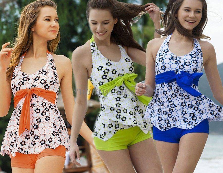 e3344b71416ce Plus Size Women Floral 2 Piece Bathing Suit Tankini Swimsuit Swimwear Set  at  17.66 these boyleg Tankini s are very cute. So feminine.