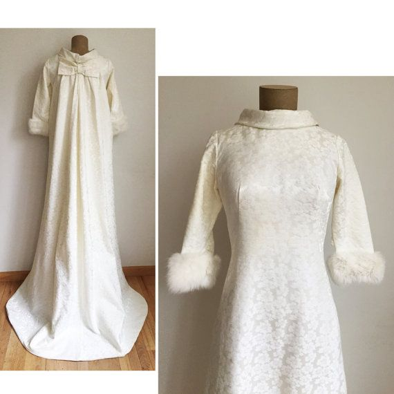 60s FUR Trimmed Wedding Dress - vintage white gown with long train ...