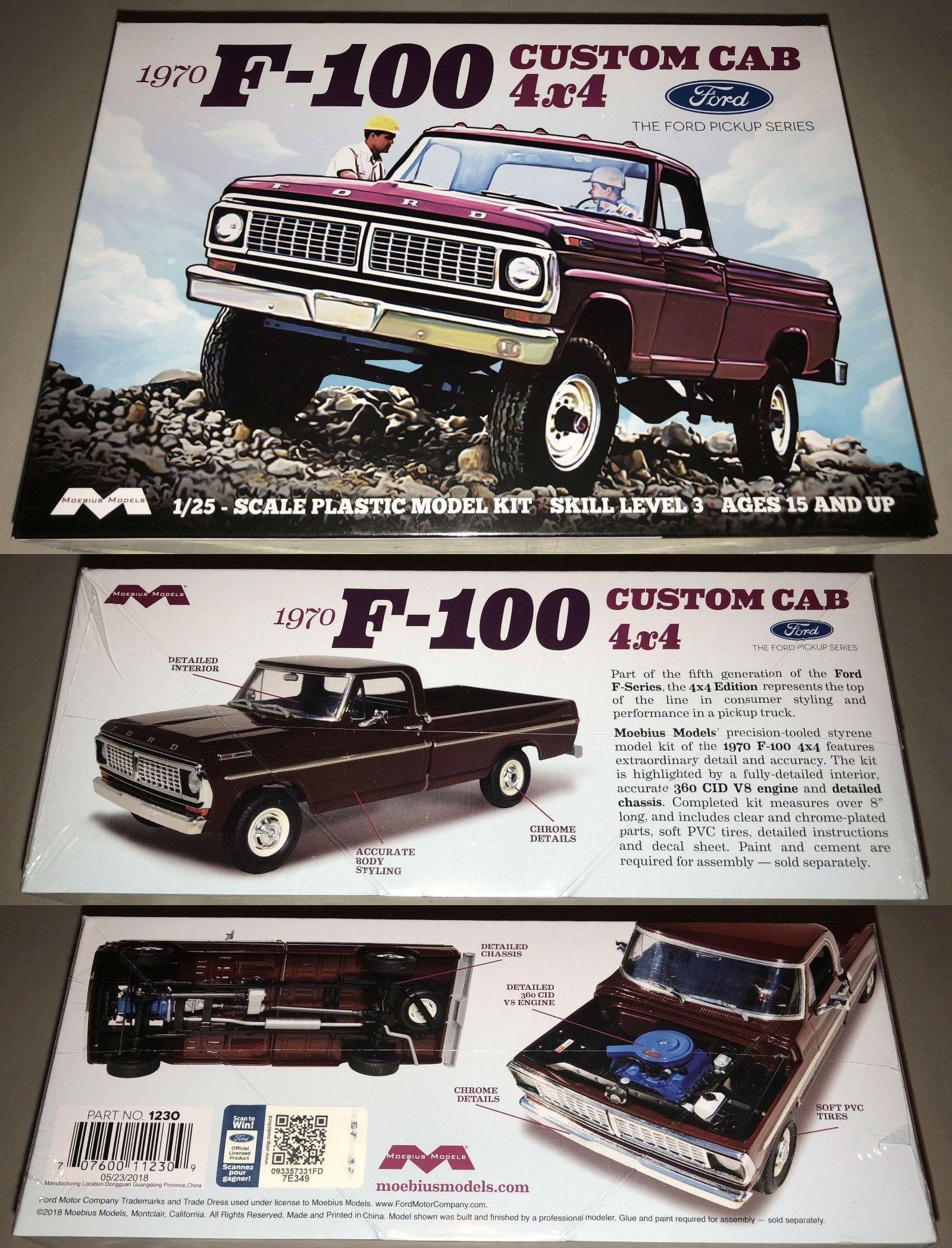Classic 2581 Moebius 1970 Ford F 100 Custom Cab 4x4 Pickup 1 25 Plastic Model Kit New 1230 Buy It Now Only 25 Plastic Model Kits Model Kit Plastic Models