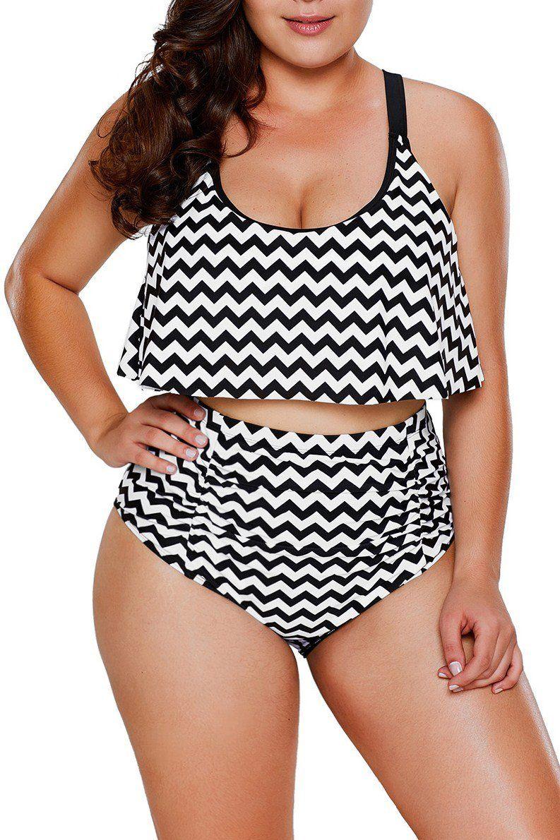 166ce62856f30 Black White Zigzag Flounce Tankini High Waist Swimsuit. Black White Zigzag  Flounce Tankini High Waist Swimsuit Two Piece Swimwear ...