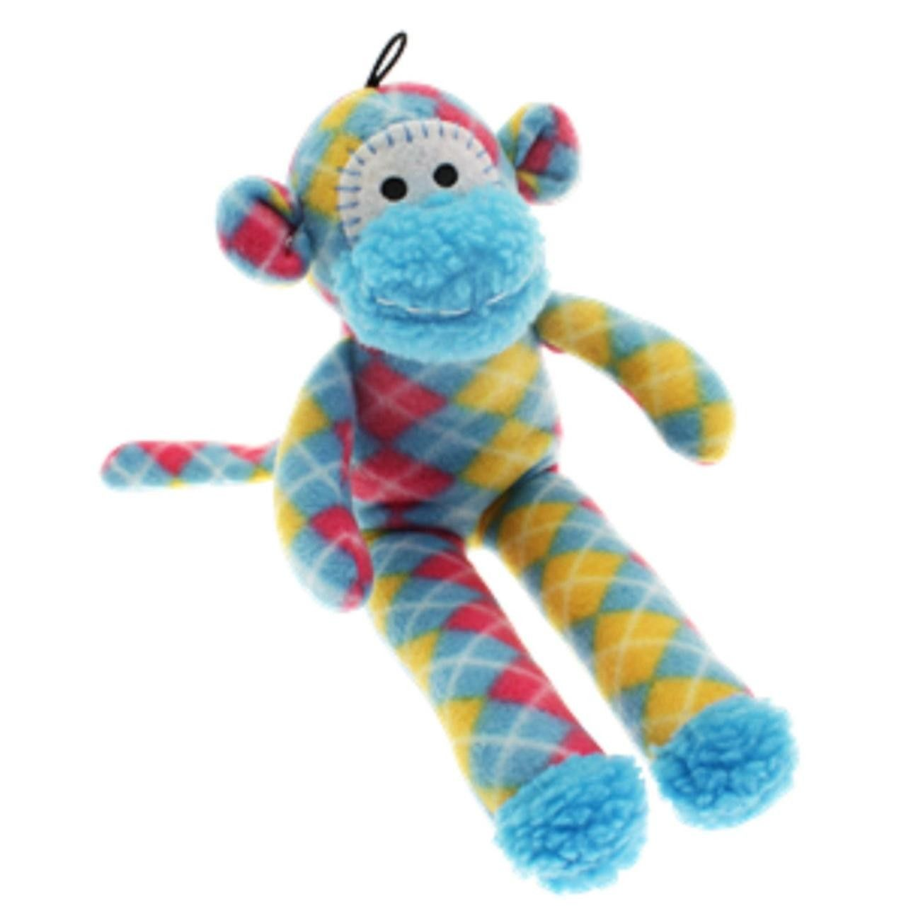 Checked Happy Pet Sock Monkey Plush Dog Toy The Bright And Cute