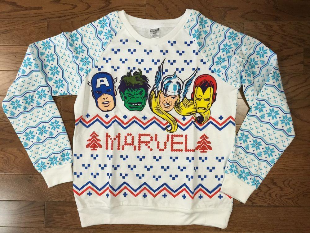 New Marvel Comics Juniors Ugly Christmas Sweater Sweatshirt Hulk ...