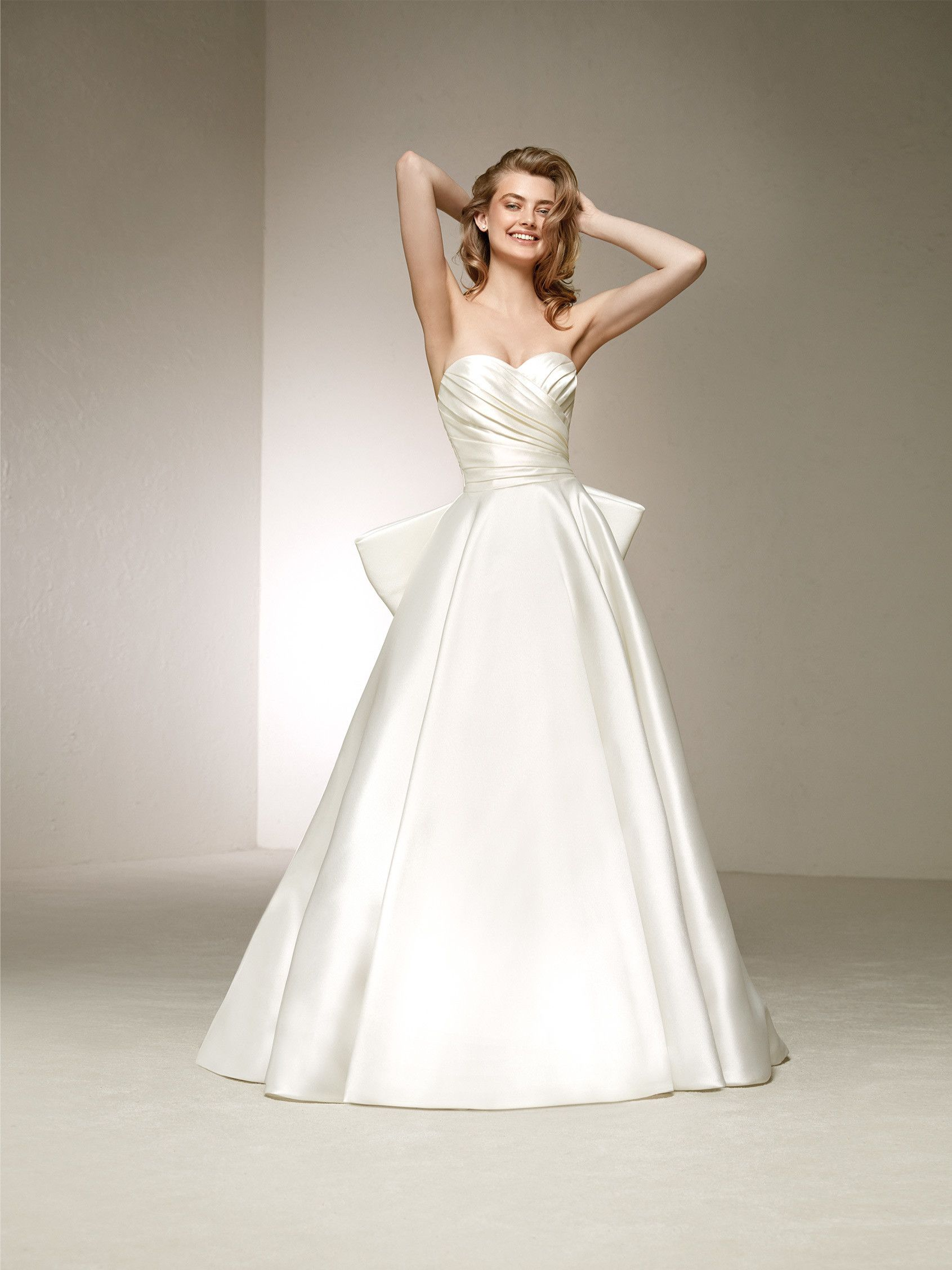 Pronovias Delta In Ivory Satin 1940 Or Off White Mikado 2190