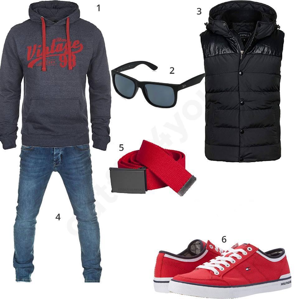 Style mit Hoodie, Weste und roten Sneakern | Fashion
