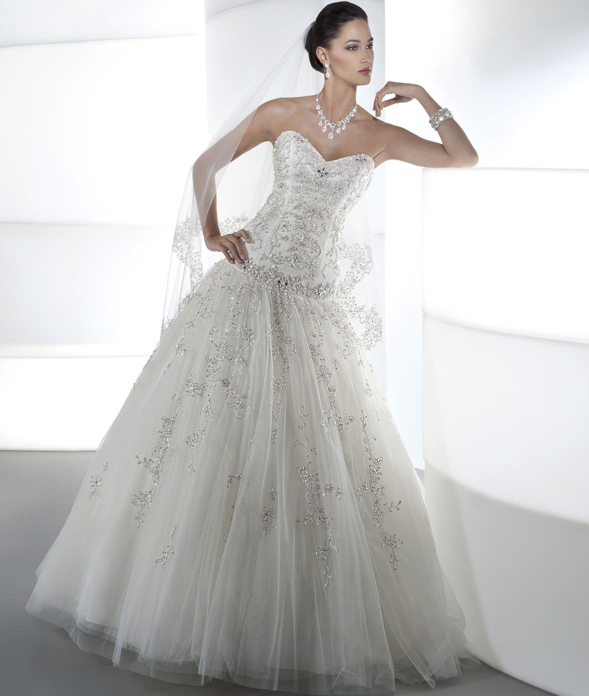 Demetrios White Drop Waist Ballgown With Beaded Bodice: Ilissa Style 534 By Demetrios In 2019