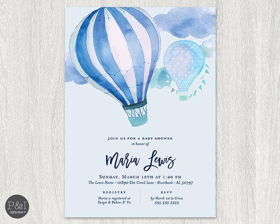 Air Balloon Baby Shower Invitation Girl Or Boy Diy