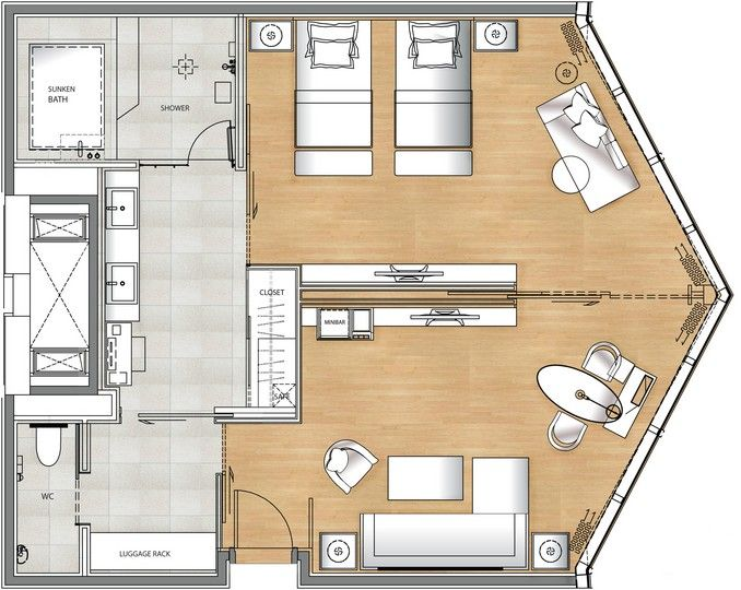 Deluxe suite floor plan spa ideas pinterest room for Hotel design layout
