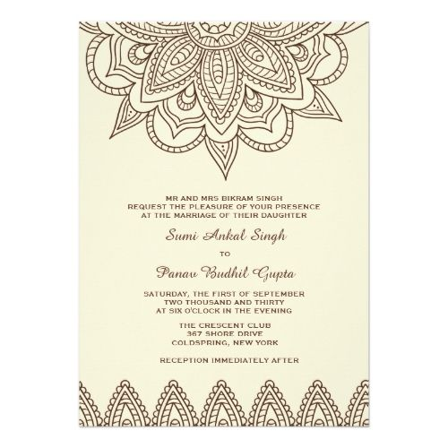 Henna Invitation Zazzle Com Indian Wedding Cards Indian Wedding Invitations Invitations
