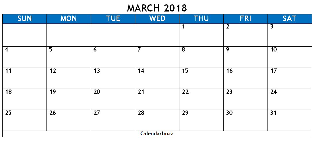 March 2018 Calendar Word Template 2018 Calendar Templates