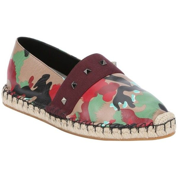 72bc6d15e2a Valentino Tan And Green Camo Print Leather Espadrille Loafers... ( 600) ❤  liked on Polyvore featuring men s fashion