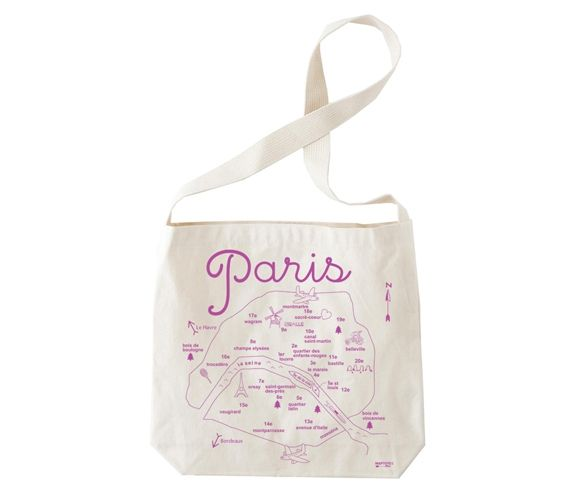 88e92267faa9 MAP TOTE - Paris natural hobo tote. Made in New York