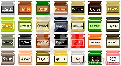 Illustration representing some jars with the most known spices. This image can be used into two ways: using a single jar for each project or using them together as background
