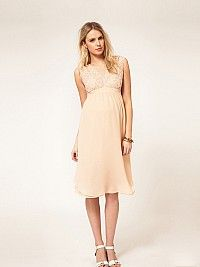 Chiffon Empire Maternity Dress with Embroidered Bodice