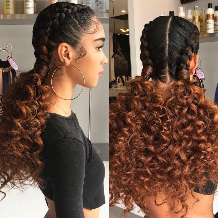 French Braids With Loose Curly End Tips Hair Curly Hair Styles Naturally Natural Hair Styles Braided Hairstyles