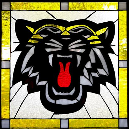 Stained Glass Hamilton Tiger Cat Logo 150 Individual Pieces Stained Glass Art Tiffany Stained Glass Art