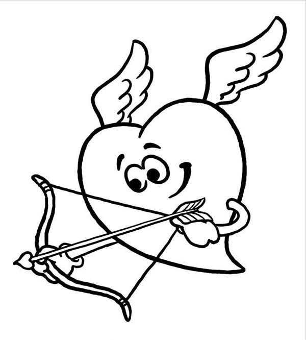 Heart Cupid Coloring Page Coloring Sun Coloring Pages Valentine Coloring Pages Heart Drawing