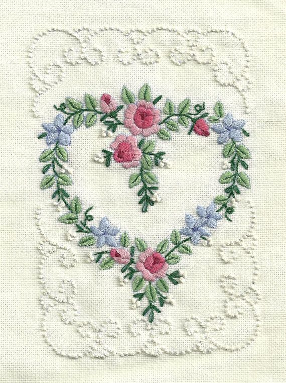 Floral Heart Embroidery by NightOwlProducts on Etsy, $40.00
