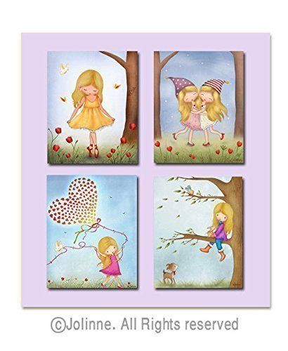 Kids Bedroom Art personalized art prints for girls room illustrations sisters