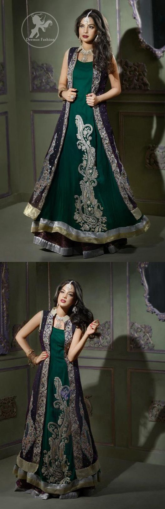 Bottle green front open gown style long dress gowns indian wear