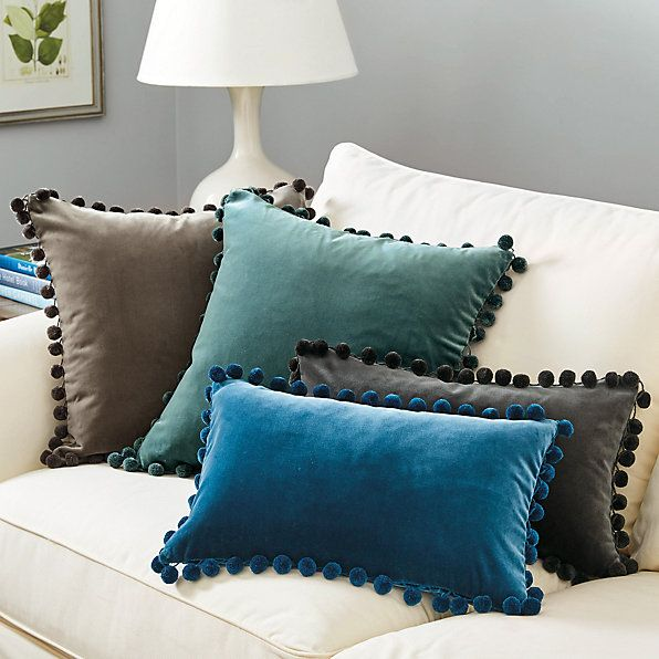 "Ballard Design Pillows teal - signature velvet pom pom 12"" x 20"" pillow cover 