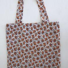 Tote bag sac cabas, motif à fleurs orange et bleu