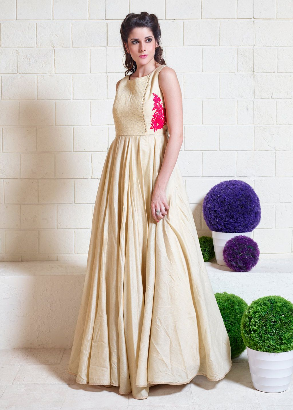 497ec7265 Beige Jute Silk Readymade Party Wear Gown 70230
