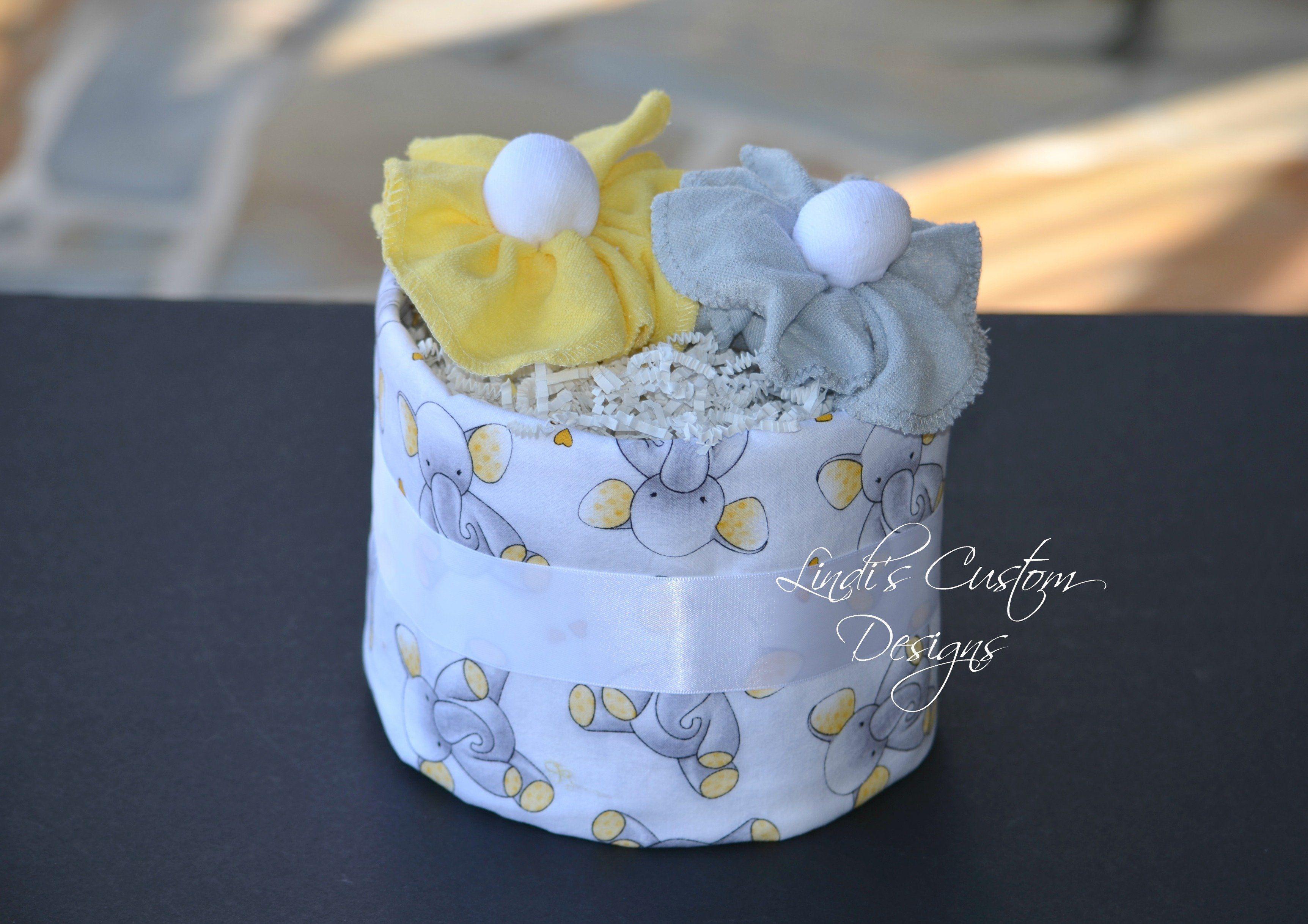Gray Yellow Elephant Burp Cloth Baby Gift
