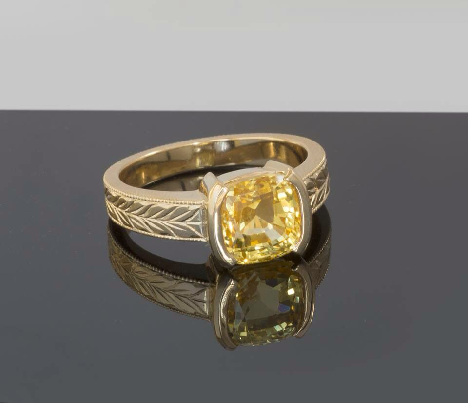 Fine Unheated Yellow Sapphire, Cushion Shaped Ring In 18kt Yellow Gold