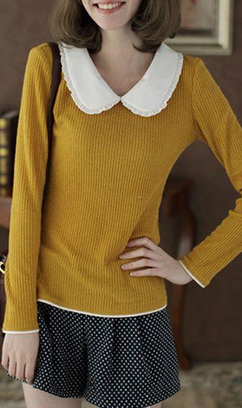 Long puff sleeve round collar shirt Yellow