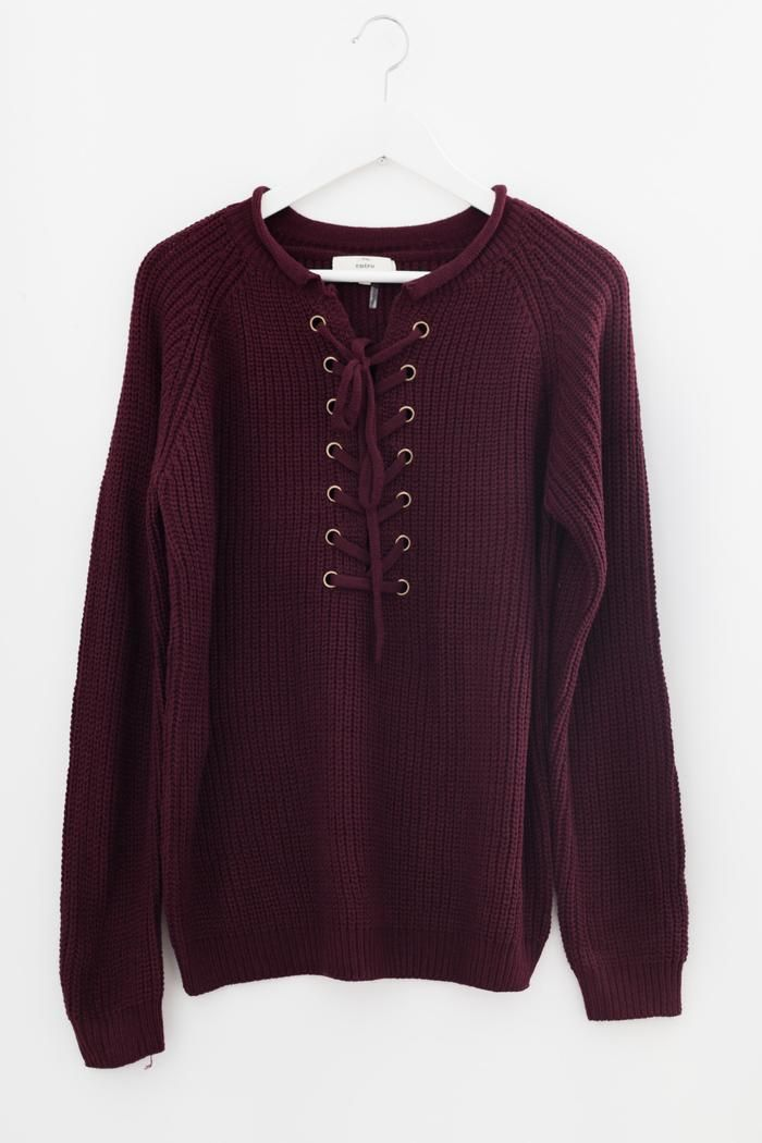 Lace-up knit sweater in tan  8e7006abb