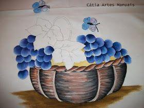 Catia Artes Manuais: PASSO A PASSO PINTURA DE CESTA COM UVAS