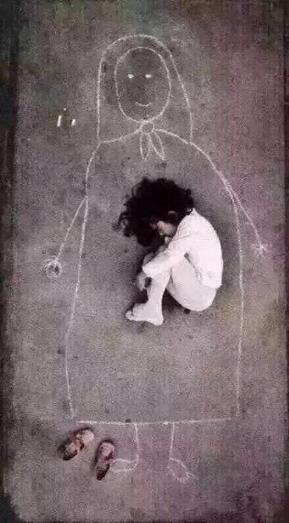 Pierre-Jean Maurel - In Iraq a little girl drew a picture of her mother on the floor...