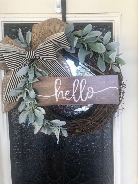 Farmhouse Wreath-Grapevine Wreath-Front Door Decor- Wreath with Eucalyptus- Farmhouse