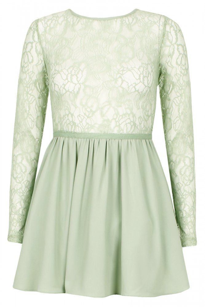 Pastel Green Lace Sleeve Skater Dress    $46.50
