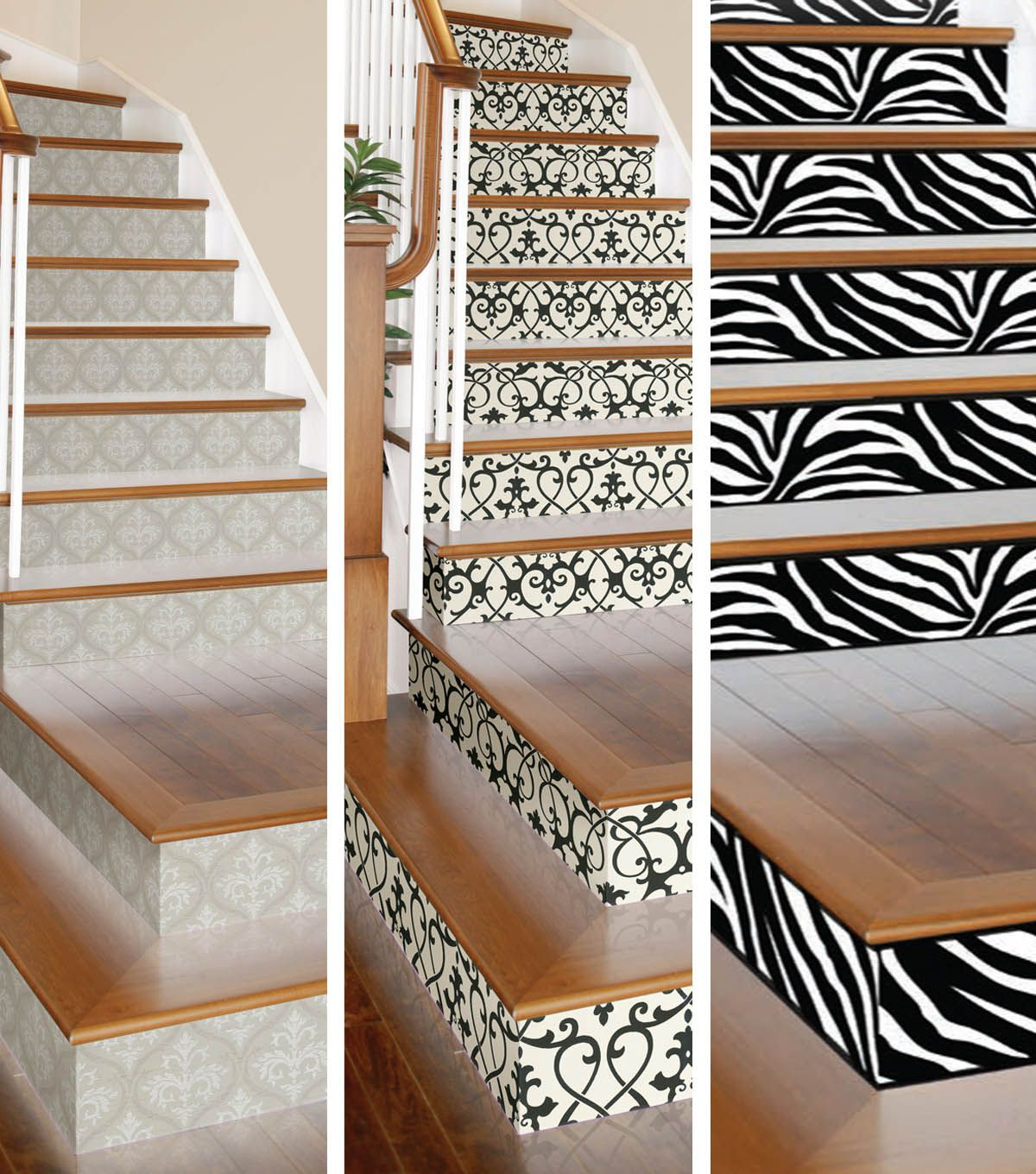 Wooden Stairs With Painted Stripes Updating Interior: Give Your Stairs Some Flair With DIY Wallpapered Stair