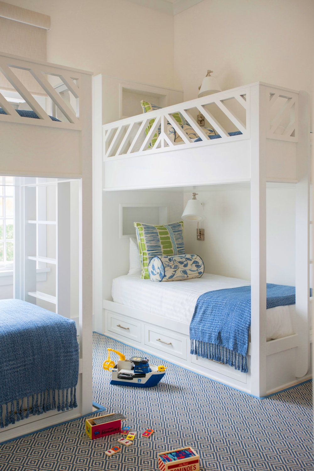 Bunked beds + white beds + kids rooms + open shelving