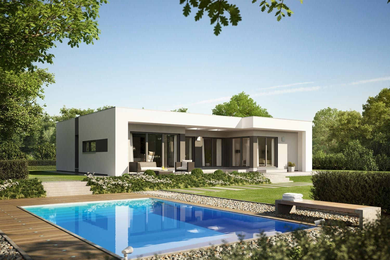 Fertighaus finess architektenhaus im bungalowstil von for Minimalistisches haus grundriss