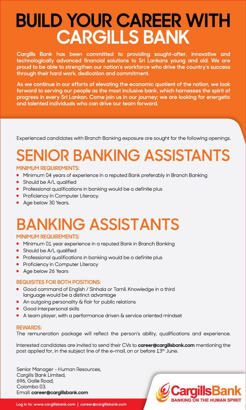 Senior Banking Assistants Banking Assistants At Cargillabank Careerfirst Accounting Jobs Banking Job Ads