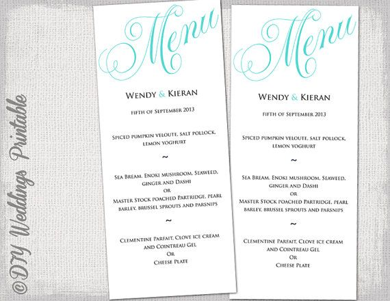 Wedding menu template Turquoise blue wedding menu DIY wedding menu - menu template for word
