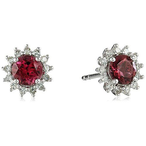 10k White Gold Pink Tourmaline and Diamond Halo Stud Earrings (1/4cttw, H-I Color, I1-I2 Clarity) - $0