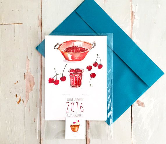 2016 calendar Recipe calendar 5X7 calendar by lucileskitchen
