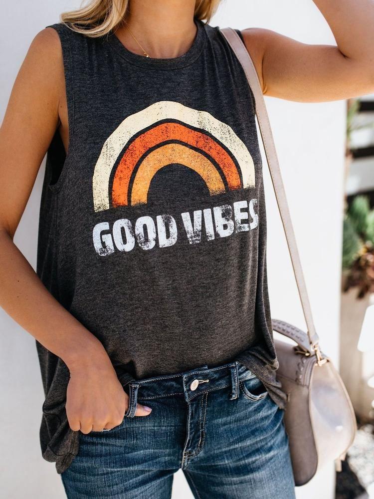 42990a70c6d Good Vibes O-Neck Vest Vetement Mode Femme